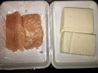 挽き肉と豆腐の量の比較