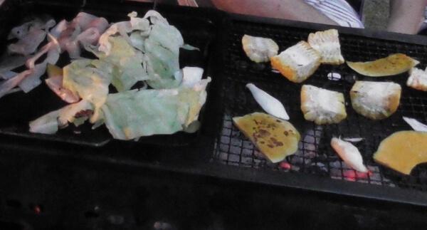 BBQで焼いてる野菜