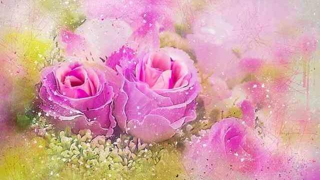 水彩画で書いたピンクのバラ